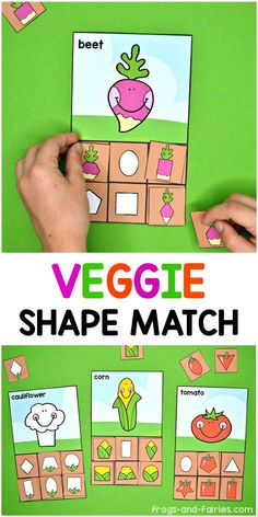 Let's plant some shape veggies! Your kids will match fun shaped vegetables with matching shapes on the sorting mat! Printable Activities For Kids, Preschool Learning Activities, Preschool Lessons, Lessons For Kids, Preschool Activities, Preschool Shapes, Shape Games For Kids, Shapes For Kids, Shape Matching