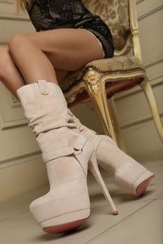 Suede nude high heeled bottines by Yarose Shulzhenko