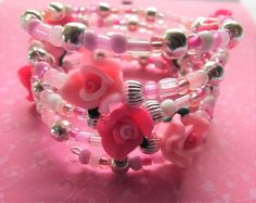 Memory Wrap Bracelet with Pink Roses, Pink and Silver Beads Gift for Her Birthday, Friend, Sister, Aunt or Mom Add a Charm PRB17024 by BlingItOutLoudCharms on Etsy