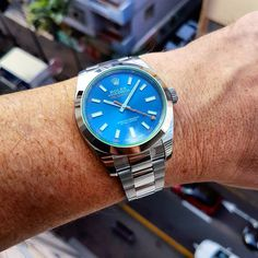 rolex milgauss z blue on the wrist - Google Search