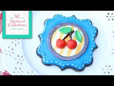 How to decorate cookies and create a denim effect on royal icing - Cute cherry plaque cookies - YouTube