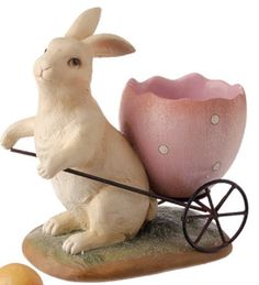 Bunny Rabbit With Pink Egg Shape Pull Wagon Brand New
