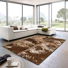 Teramo 163 060 Patchwork Brown Rug By Golze Modern Colors, Vibrant Colors, Colours, Border Rugs, Brown Rug, Black Rug, Modern Design, Pure Products, Modern Times