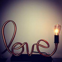 Lámpara de tubo de cobre de amor / / por MechanicalBirdsShop