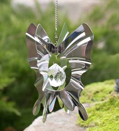Steel #Butterfly #Crystal #Globe #Wind #Spinner