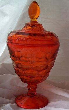 Orange Viking Glass Candy Dish with Lid Mid Century Art Glass. $28.00, via Etsy.