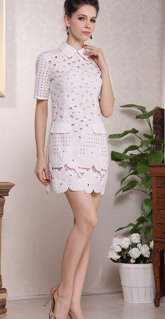 White Wing Collar Hollow Dress