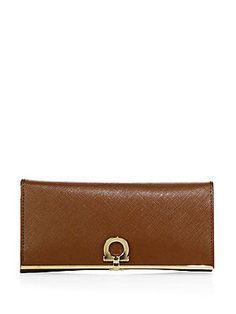 Salvatore Ferragamo Gancini Icona Vitello Leather Continental Wallet -