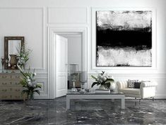 Large Abstract Canvas Black And White Oil Painting Canvas Abstract Painting Canvas Abstract Art Original Artwork Abstract Living Room Decor Black And White Painting, Blue Painting, Black And White Abstract, Hand Painting Art, Large Painting, Oil Painting Abstract, Abstract Canvas, White Art, Painting Canvas