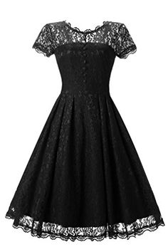 BEJG Women's Short 2017 Cap Sleeve Lace Prom Dresses Formal Retro Vintage Swing Party Cocktail Dresses in Black S-XXL