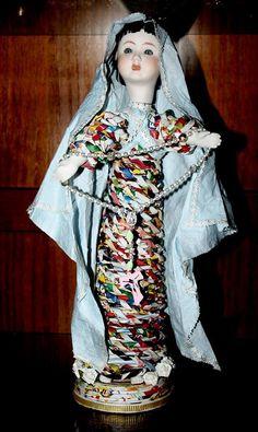 Nossa Senhora, em papel e porcelana da fabrica ALDA -Barcelos por Elmar. Oficina D´Artes