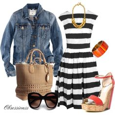"""""""Denim and Stripes"""" by obsessionss on Polyvore"""