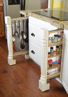 Hidden Post Spice Rack Pull Out | White Kitchen Cabinets | Lewis Custom Woodwork | Custom Cabinets | Northern Utah