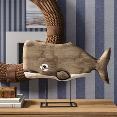 Crafted of mango wood, this handsome whale silhouette is carved with a natural greyed finish and mounted on a pewter metal base. Wicker Furniture, Shabby Chic Furniture, Decorative Objects, Decorative Pillows, Crate Side Table, Whale Decor, Wall Decor Set, Wood Headboard, Hygge