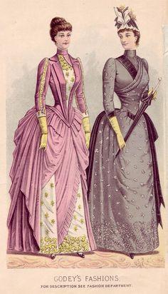 187 best Fashion World - Antique/Historical/Vintage images on . 1880s Fashion, Edwardian Fashion, Vintage Fashion, Victorian Gown, Victorian Costume, Vintage Outfits, Vintage Dresses, Historical Costume, Historical Clothing