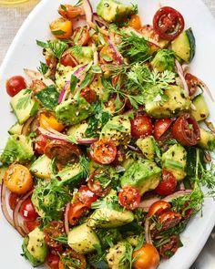 This avocado and vegetable salad is going to be the absolute star of your summer lunches and dinners. It features simple ingredients: tomato, avocado, onion, lemon, herbs and oil for a fresh and delicious side dish that you won't forget.