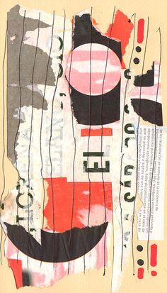 """Rodrigo Gárate Chateau. Parte de la serie """"Desde"""" (2014). El texto legible de uno de los collage da nombre a la serie."""