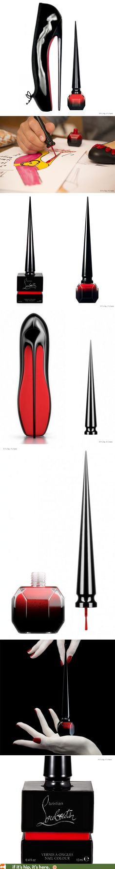 """The story behind the bottle design and packing for Rouge Louboutin, the new nail lacquer from Christian Louboutin. With a cap inspired by the 8"""" heel of the Ballet Ultima shoe and a peek-a-boo box in patent leather."""