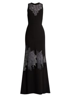 Lace-insert belted crepe gown | Elie Saab | MATCHESFASHION.COM