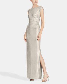 14e485ad2ffb1 Vestido largo dorado de mujer Lauren Ralph Lauren