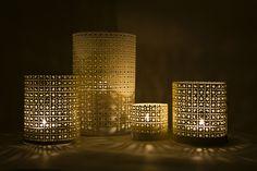 DIY lanterns made from radiator perforated metal sheets