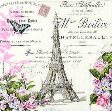 4x mesa de un solo papel Servilletas Para Fiesta Decoupage Craft Vintage, La Tour Eiffel