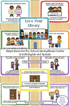 'Love Your Library … Simple Library Rules in English and Spanish'  is a set of 8 posters that can be put together in a booklet format to be used to discuss basic library rules for story time and book checkout. (Also a set of English only rules is included.)  $