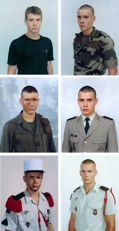 Olivier, before and during his enrollment at the Legion Etrangere. Photo: Rineke Dijkstra
