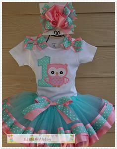 Owl Birthday Parties, Birthday Tutu, Tutu Outfits, Girl Outfits, Ribbon Tutu, Baby Kind, Baby Dress, Little Girls, Kids Fashion
