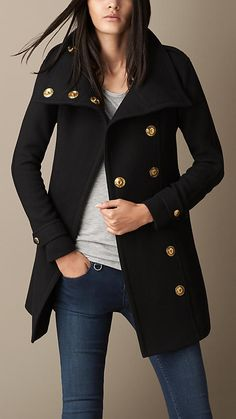 Burberry Wool Twill Blanket Wrap Coat