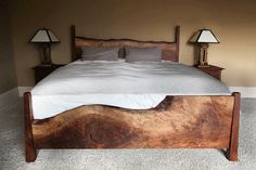 Western Walnut for their Live Edge Bed Live Edge Furniture, Log Furniture, Bedroom Furniture, Furniture Design, Furniture Online, Furniture Ideas, Home Bedroom, Bedroom Decor, Bedrooms