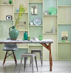 Not a small DIY project. I like idea of having a whole wall for storage and display. Love the colour story. Decor, Furniture, Green Interiors, Interior, Home, Home Remodeling, Pastel Interior, House Interior, Home And Living