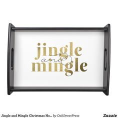 Jingle and Mingle Christmas Holiday Party Serving Tray - Save 20% with coupon code BLACKFRISAVE. black friday, holiday, party, gold, glitter, sparkle, jingle, mingle, jingle and mingle, modern, fun, pretty, cute, fancy, text, type, golden