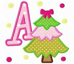 Christmas Tree Letters Applique - 4x4 | Christmas | Machine Embroidery Designs | SWAKembroidery.com Fun Stitch