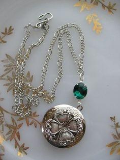 Silver Locket with 4Leaf Clover and Emerald Rhinestone by liliswan. IRISH!!!