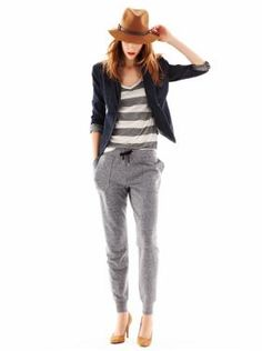 Well, take a look at that!  Fitted sweats are back in style!  It's a good thing I have loved fitted sweats my whole life!  I don't like this particular look, though . . .  Really?  Sweats WITH heels???  Nonsense.