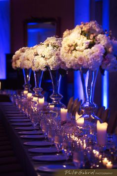 Beautiful blue setting for white floral - Philip Gabriel Photography