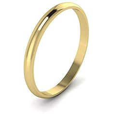 Wedding Band Ring sterling silver 925 jaune plaqué or cadeau Largeur 2 mm Taille 12