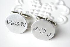 Personalized wedding date cufflink for the groom