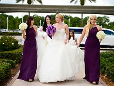 Pretty in purple bridesmaid dresses at Disney's Wedding Pavilion