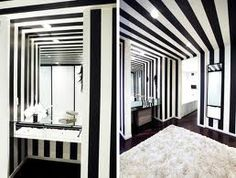 black and white striped bedroom - Google Search