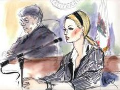This is a great representation of a courtroom sketch of Paris Hilton and how detailed the artist made the image come to life.