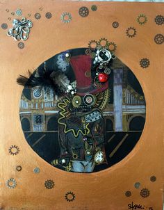 "Painting: 'Steampunk Fishman' - mixed media on 16 x 20"" canvas (Free Shipping!) by AlabasterandObsidian on Etsy"