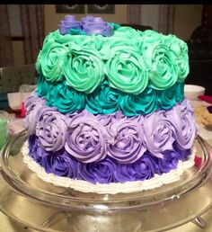 Purple and teal ombré cake