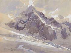 Edward Harrison Compton (1881 — 1960, UK-Germany) The Königsspitze. 1905 watercolour on paper. 24 x 32 cm. ( 9' 2/5 x 12' 3/5 in.)