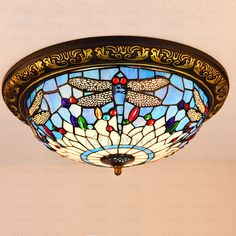 Art Stained Glass Rose Lamparas Techo Tiffany Bedroom LED Ceiling Lamp E… Tiffany Ceiling Lights, Led Ceiling Lamp, Tiffany Lamps, Stained Glass Chandelier, Stained Glass Rose, Tiffany Pendant Light, Glass Shades, Glass Art, Sea Glass