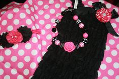 Hey, I found this really awesome Etsy listing at https://www.etsy.com/listing/227545273/hot-pink-and-black-petti-romper-cake