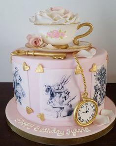Vintage Alice In Wonderland Cake designed Ashley Barbey of Little Vintage Baking Company