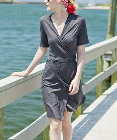 Love this Gray Vineyard Sound Wrap Dress on #zulily! #zulilyfinds