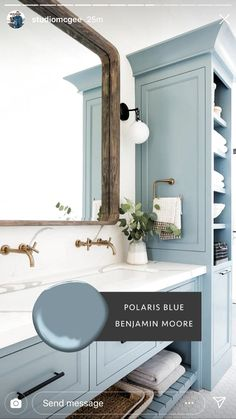 Bathroom decor for your bathroom remodel. Discover bathroom organization, bathroom decor ideas, bathroom tile ideas, bathroom paint colors, and more. Paint Colors For Home, House Colors, Bathroom Paint Colors, Blue Paint Colors, Baby Blue Paint, Kids Bathroom Paint, Coastal Paint Colors, Bathroom Canvas, Wall Colors
